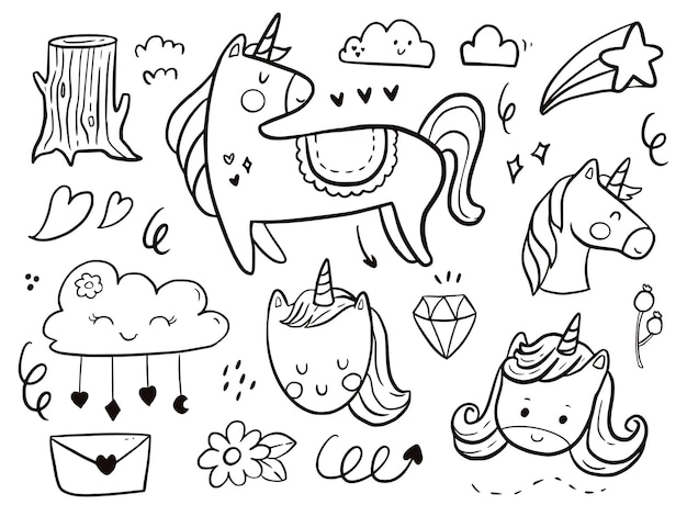 Set of unicorn doodle drawing cartoon for kids coloring and print