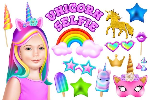 Set of unicorn party.