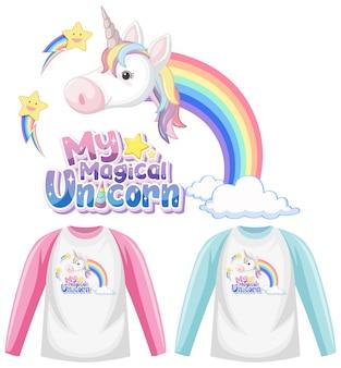 Set of unicorn shirt isolated on white