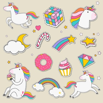 Set of unicorn stickers vector