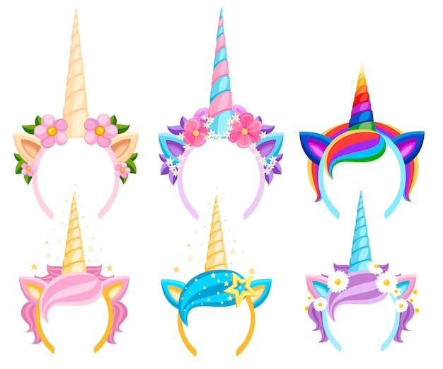 Set of unicorn tiaras with flowers and leaf.  fashion accessory headband. head band with rainbow style. vector illustration  on white background