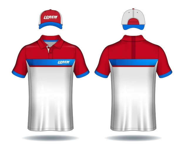 Set of uniform template polo shirts and caps.