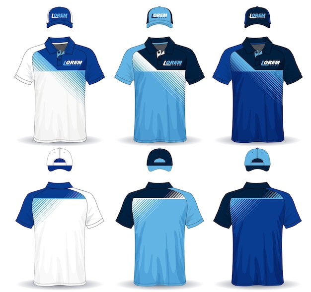 Set of uniform template polo shirts and caps