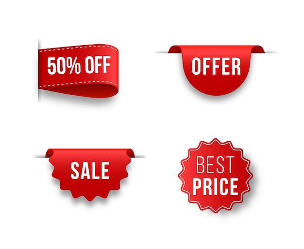 Set of unique red ribbons for advertising promotion sale text heading title decoration frame