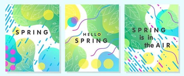 Set of unique spring cards with bright gradient leaves fluid shapes and geometric elements in memphis style.