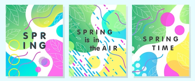 Set of unique spring cards with bright gradient tiny leaves,fluid shapes and geometric elements in memphis style.