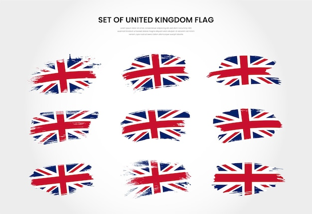 Set of united kingdom country grunge brush stroke flags collection