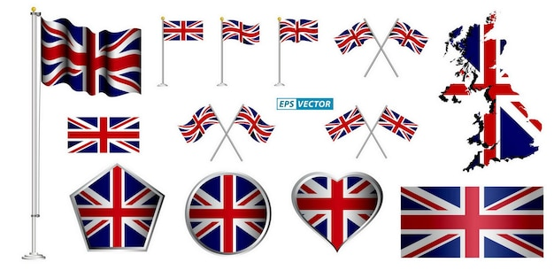 Set of united kingdom flag clip art isolated with various badge