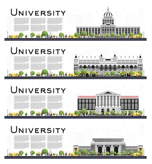 Set of university campus study banners isolated on white. illustration. students go to the main building of university