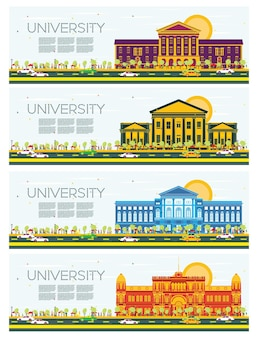 Set of university study banners. vector illustration. students go to the main building of university. skyline with blue sky and green tree. banner with copy space.
