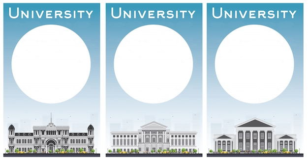 Set of university study banners with .