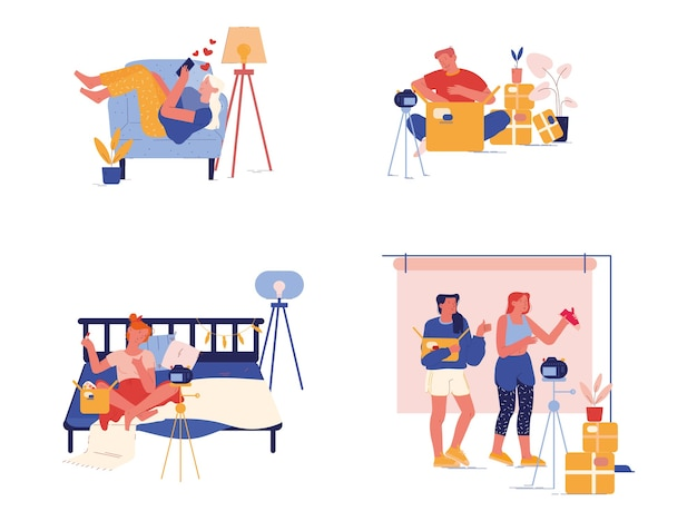 小包の開梱、郵便配達、出荷ブログの概念を設定します。ブロガーのキャラクターが箱を開けるインターネット用の開封動画を録画する。ライブストリーミングソーシャルメディア。漫画の人々