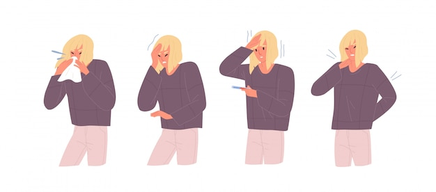 Set of unwell woman with influenza symptoms vector flat illustration. female with headache and body stiffness, measuring temperature, blow nose isolated on white. girl with respiratory disease