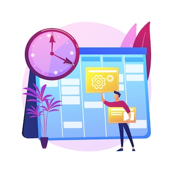 Set up daily schedule abstract concept  illustration. quarantine daily routine, schedule your day staying home, self-organization, set up study calendar .