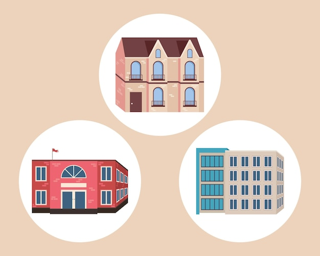 Set of urban buildings icons