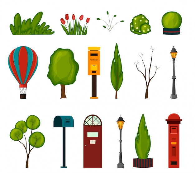 Set of urban objects for your  on a white background. cartoon style.  illustration.