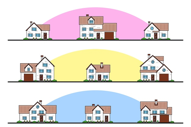 Set of urban and suburban cottage style residential houses, thin line icons.