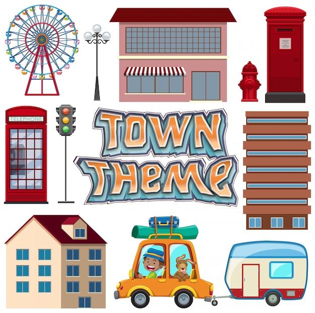 Set of urban town element