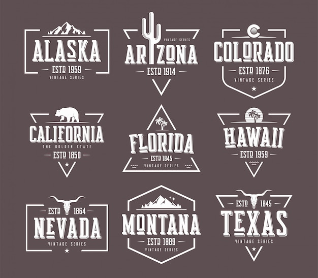 Set of us states vintage  t-shirt and apparel designs, badge