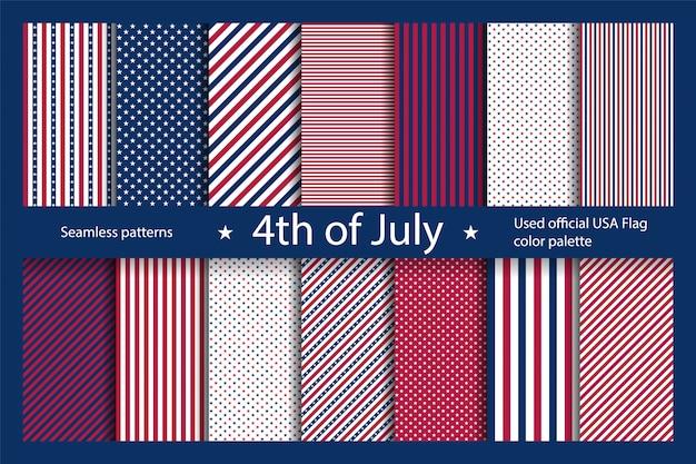 アメリカの国旗の要素を持つアメリカの背景を設定します。独立記念日の抽象的なシームレスパターン。