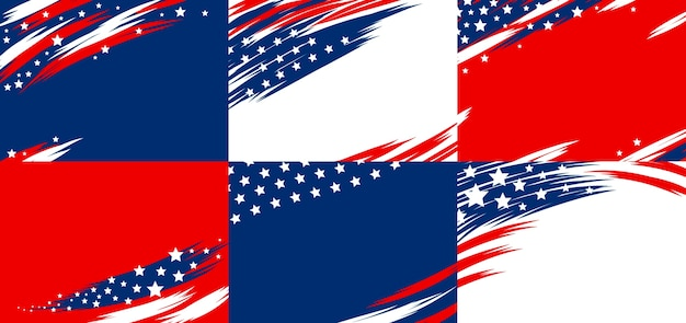 Set of usa banner abstract background of american flag