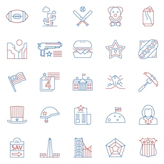 Set of usa culture two color outline icons