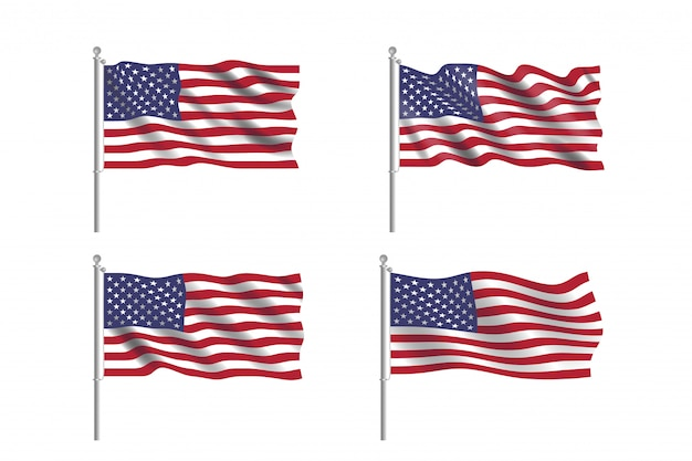 Set of usa flag. collection of american flags moving in the wind in vector