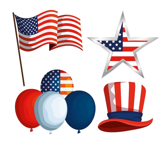 Set usa flag with star and balloons with hat