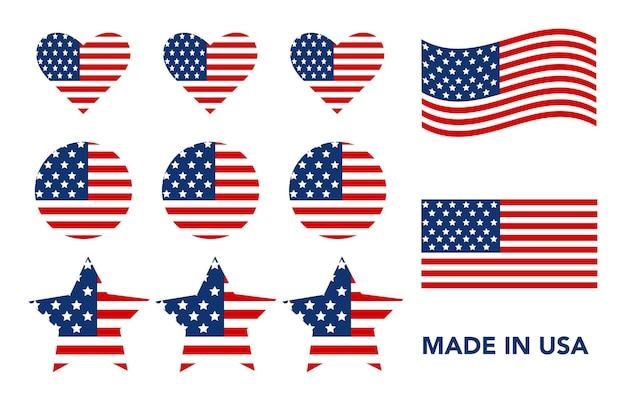 Set of usa flags illustration