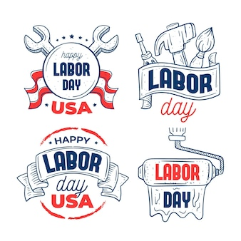 Set of usa labour day labels