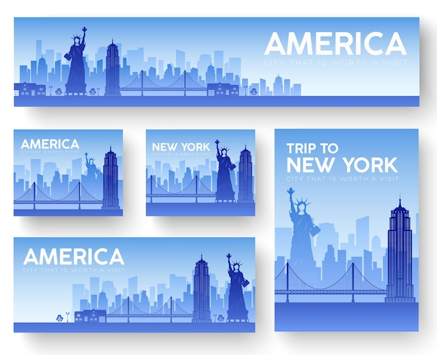 Set of usa landscape country ornament travel tour. culture traditional, flyer, abstract, element.
