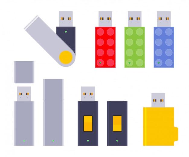 Set of the usb flash-drives