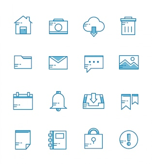 Set of user interface icons with outline style
