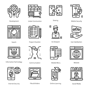 Set of user interface line icons