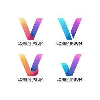 Set of v letter logo colorful gradient