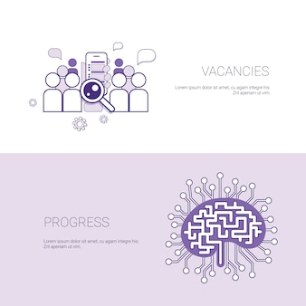 Set of vacancies and progress banners business concept template background with copy space