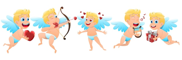 Set of valentine cupids with hearts illustration
