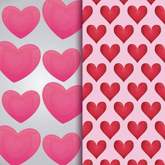 Set of valentine day cards patterns