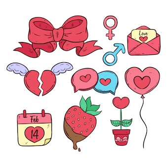 Set of valentine elements with colored hand drawn style