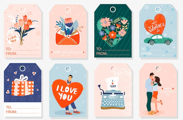Set of valentine gift tags.
