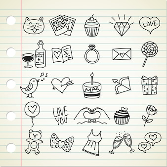 Set of valentine icon in doodle style
