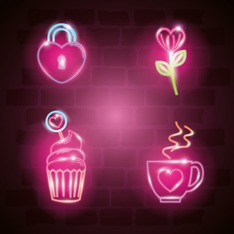 Set of valentine icons in neon light
