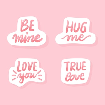 Set of valentine quote stickers