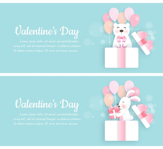 Set of valentine's day banners with cute rabbit and bear standing in a gift box in paper cut style