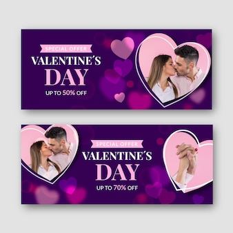 Set of valentine's day banners with photo