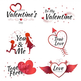Set of valentine's day calligraphic quotes with illustration of