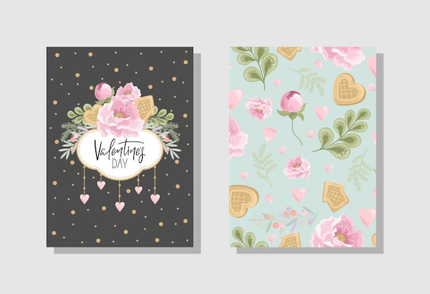 Set of valentine's day greeting card with flowers, sweets, branches, romantic elements and handwritten text. Premium Vector