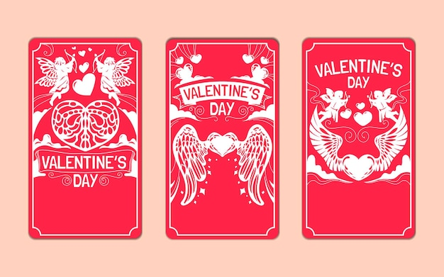 Set of valentine's day greeting cards for social media story