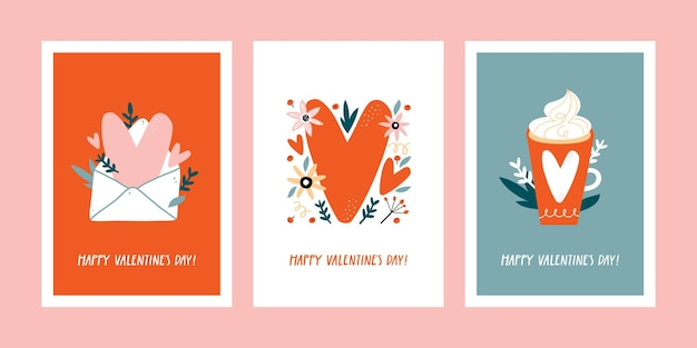 Set of valentine's day greeting cards with hand drawn decorative elements.