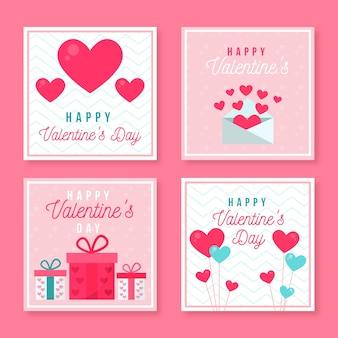 Set of valentine's day instagram posts